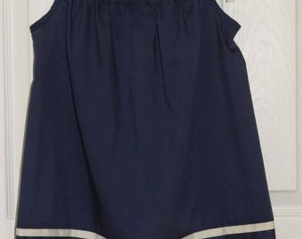 Girl's Pillowcase Dress, Vintage Pillowcase, Navy with White Trim, Eco-friendly