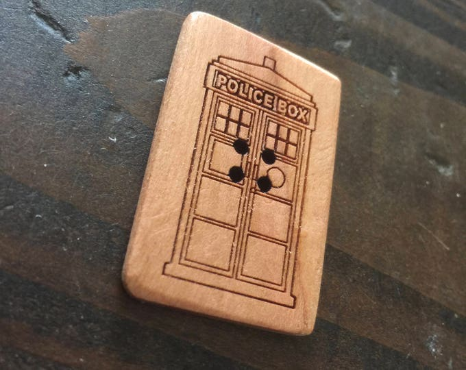 "Set of 2, 1.5"" Tardis buttons"