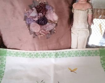 antique vintage tray cloth, lilies and dragonfly, lucky 4 leaf clovers, vintage doilies, pink water lilies
