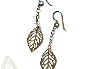 Falling Leaf Dangle Earrings, Brass Leaves and Chain, Peacock Niobium Wires, Dryad Dangles - Autumn Finds