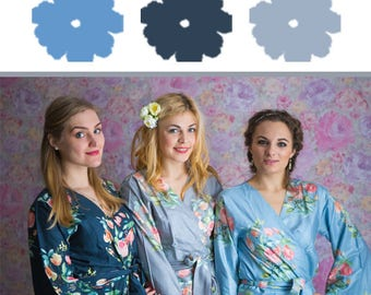 Gray, Blueberry Blue and Dusty Blue Wedding Color Bridesmaids Robes - Premium Rayon Fabric - Wider Belt and Lapels - Wider Kimono sleeves
