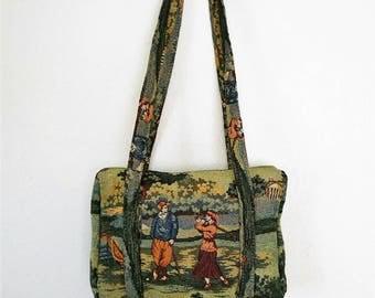 Vintage Handbag Golfer's Tapestry Purse Carry All Needlepoint Embroidery Shoulder Bag
