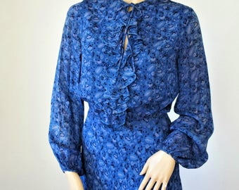 1970's Treacy Lowe Dress Blue Floral Ruffle Silk Vintage Size 10 Boho Hippie
