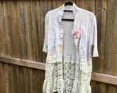 Altered Women's Natural Knitted Top, Shrug, Crochet Lace Trim, Magnolia Pearl Style, Extra Large, Shabby Chic, Romantic Shrug, Flower Pin