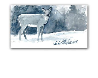 Deer Doe Blues  Original Watercolor painting LLMartin Free Shipping USA Nursery, New Mom , Country, Den