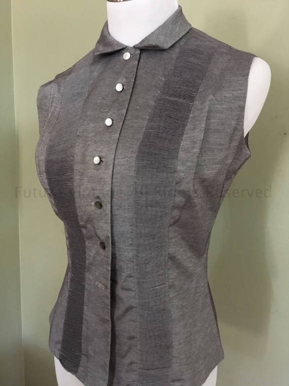 PRESTIGE JUNIOR of New York Silver Gray Sleeveless Button Front Blouse-XS S