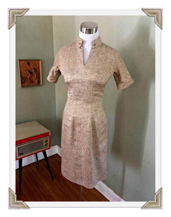 1950s ANNE FOGARTY Neiman Marcus Gold Tone Flecked Short Sleeve Fitted Wiggle Dress-Fully Lined-XS S