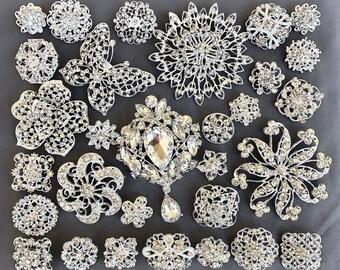 30 pc Silver Brooch Bouquet DIY Kit wholesale assorted lot set crystal rhinestone Bridal Wedding brooch button Decoration BR672