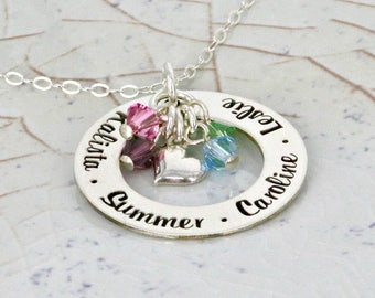 "Personalized Necklace • Mother Necklace • 1"" personalized loop necklace with sideways heart charm and up to 5 birthstone crystals"
