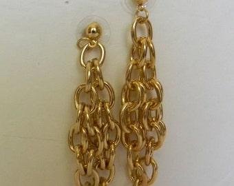 Modern 18k Gold Filled Tassel Earrings Handmade:Cluster Chain Linked Dangle Earrings For Her-Hoop Earrings Gold Ear Posts-Holiday Jewelry
