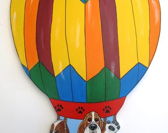 """Hand Painted Basset Hound Wall Art - Hot Air Balloon Bassets """"Charles and Elsie"""""""