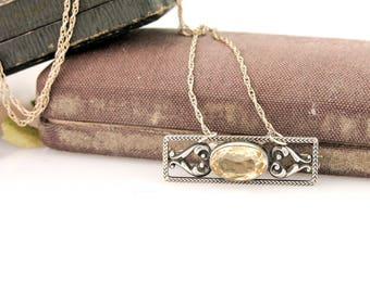 Antique Citrine Pendant | Sterling Silver Citrine Necklace | Antique Sterling Silver Pendant