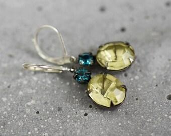 LEMON Crystal Real Vintage Earrings