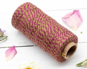Pink and Green Bakers Twine, 410 Feet,  2ply, Kitchen  Twine, Cotton Twine, Christmas   - BT2