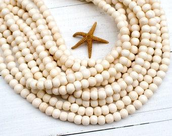 Cream Bone Beads, 8mm Bone Beads, 15 inch,   Round Bone Beads,  Spacer  Beads-BN96