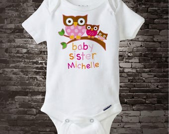 Girl's Baby Sister Owl Onesie or tee shirt, Pregnancy Announcement, Baby Shower Gift with three girl owls 01212014e1