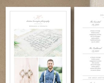 Price List Template for Photographers & Wedding Planners - Photography Marketing Templates - Pricing Guide Templates - Design By Bittersweet