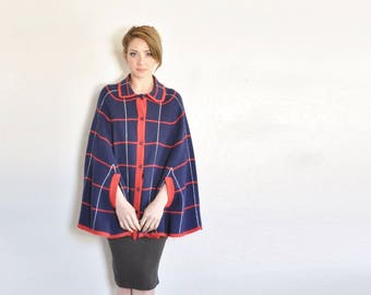extra mod peter pan collar cape coat . blue red grid stripe sweater cape .small.medium.large