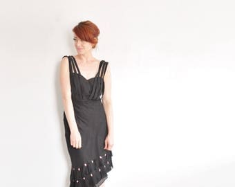 asymmetric black ruffle skirt . tiny ribbon rosebuds . salsa tango approved .medium.large