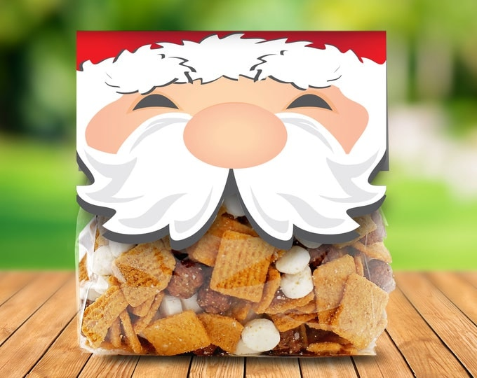 Santa Treat Bag Topper, Christmas Party, Holiday Class Party | Editable INSTANT Download Printable PDFs