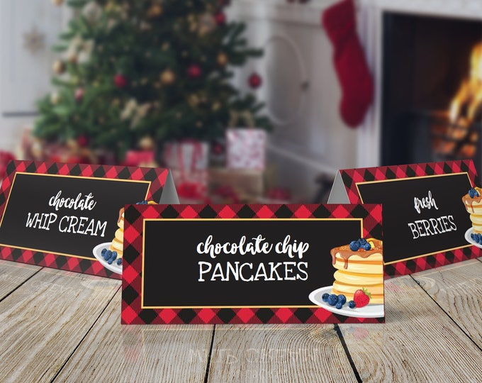 Pancakes & Pajamas Food Label, Flapjacks and Flannel, Pancakes and Plaid, Rise and Shine, Lumberjack | INSTANT Download Printable PDF