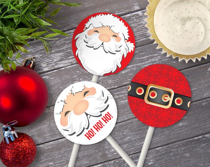 """Santa Toppers, Santa Cupcake Toppers, Santa 2"""" Cupcake Toppers, Santa Circle Tags  