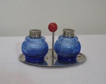 Vintage Cobalt Blue Salt & Pepper Shakers on Chrome Tray Red Knob