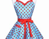 Sweetheart Pinup Apron - Red and Turquoise Polka Dot Retro Womans Rockabilly Vintage Inspired Flirty Kitchen Apron (DP)