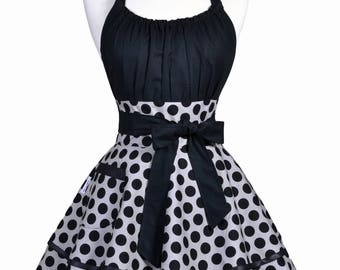 Flirty Chic Apron - Large Gray and Black Polka Dot Pinup Womans Sexy Retro Ruffled Hostess Apron with Pocket (DP)