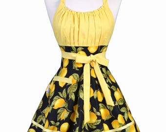 Flirty Chic Apron - Black and Yellow Farmers Market Lemons Womens Sexy Retro Vintage Pinup Kitchen Cooking Woman Apron with Pocket (DP)
