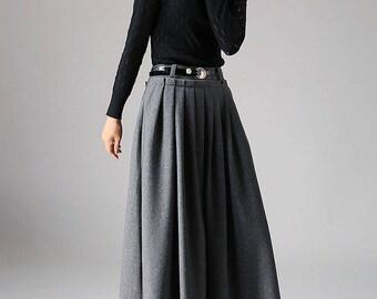 dark gray skirt, wool skirt, womens skirts, maxi skirt, pleated  skirt, circle skirt, custom made skirt, full length skirt  (1094)