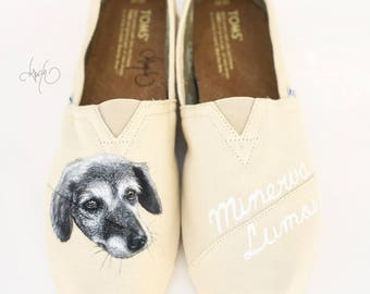 Custom TOMS Dog Portrait Shoes - Hand Painted Pet Portrait and Name