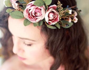 Autumn bridal crown, Fall wedding headpiece, blush mauve flower crown, dusty pink hair crown, woodland circlet, ranunculus and rose wreath