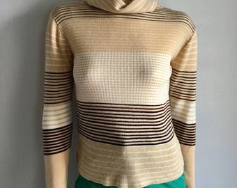 Vintage Women's 70's Turtleneck, Striped Sweater, Tan, Brown, Acrylic, Long Sleeve (XS)