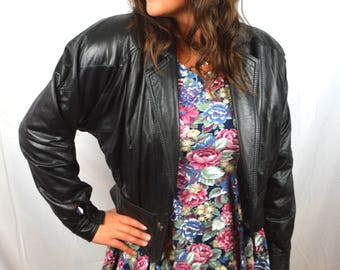 Vintage 80s Black Leather Cropped Jacket - By Disguise