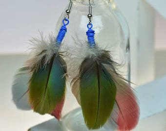 Feather Earrings, Green, Cobalt Blue, Aquamarine, Red, Macaw feather earrings, Lightweight Earrings, boho, hippie, boho chic, hippie chic,