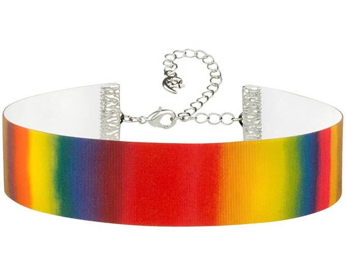 Rainbow Stripes Color Changing Hologram 3D Lenticular Choker Necklace - Adjustable