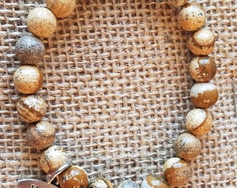 Charming natural Honey Brown Agate Beads Bracelet with silver peace charm