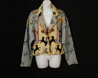 Painted Pony Jacket Whimsical Cat Theme Vintage 80s Wearable art Outerwear ML
