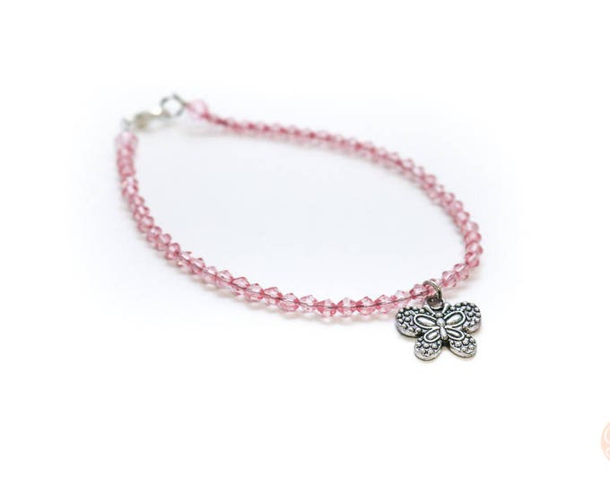 Pink and Silver Butterfly beaded anklet.