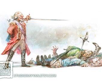 Baron Fights Three Men - extraordinary adventures of Baron Munchausen watercolor illustration