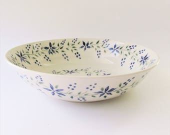 Pottery Serving Bowl, Stoneware Bowl, Ceramic Serving Bowl, Fruit Bowl, Blue Floral Pottery Bowl, Pottery Dinnerware Bowl, Hostess Gift