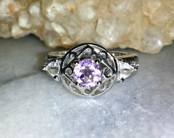 Vintage Amethyst Sterling Silver Size 9 Art Nouveau Inspired Estate Ring