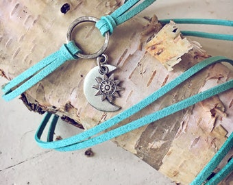 Sun and moon choker or lariat necklace // convertible wrap bracelet // bohemian wrap festival style choker//free spirit style/vegan friendly