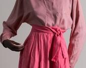 Vintage 90s Salmon Pink Pointed Collar Shirt