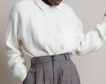 Vintage 80s Angora Knit Collared Sweater