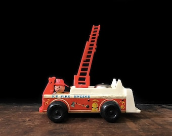 Vintage Fisher Price Fire Truck, Fire Engine, Classic Toy, Retro, Nursery Decor