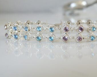 Vintage Sterling Silver 925 Amethyst Blue Topaz Two Double Row Station Link Bracelet