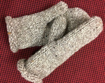 Woman's Knitted Mittens Ragg Wool Handknit Double Thickness with FREE Shipping