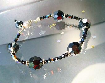 Cocktail Party Bracelet, Black Tie, Swarovski Crystal Shades of Black Bracelet, Stacking, Layering Bracelet, Sterling Ball Safety Clasp